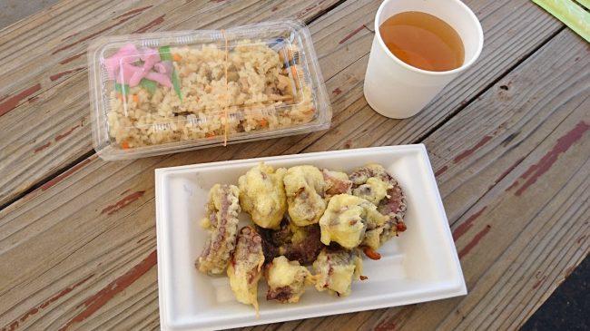 島キッチン名物 サザエめしとタコの天ぷら
